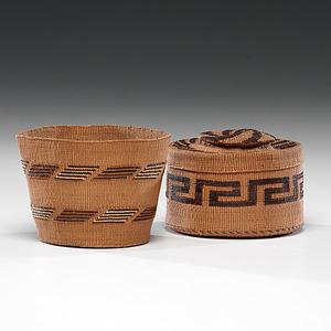Tlingit Rattle-Top Basket and False-Embroidered Basket