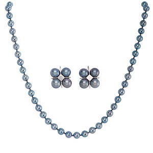 Ladies 14 Karat White Gold Blue Pearl Necklace and Earrings