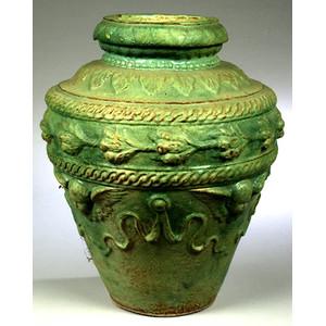 Majolica Glazed Garden Urn,