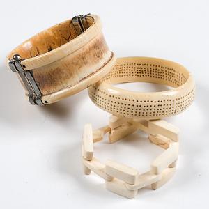 African Antique Ivory Hand-Carved Bracelets