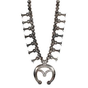 Jessie Claw Navajo Silver Squash Blossom Necklace