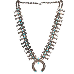 Navajo Squash Blossom Necklace with Turquoise