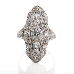 Ladies Platinum and Diamond Antique Filigree Ring