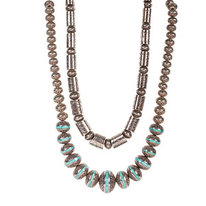 Navajo Silver Bead Necklaces with Stamping