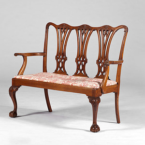 Chippendale-Style Triple Chair-Back Settee