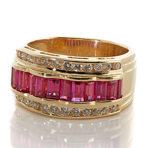 Ladies Levian 18 Karat Yellow Gold Ruby and Diamond Ring