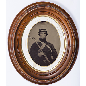 Civil War Full Plate Tintype of Armed Soldier