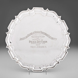 Footed Sterling Equestrian Trophy Tray