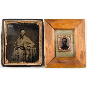 Civil War Soldier, Armed, Wearing U.S. Buckle, Sixth Plate Tintype, Plus