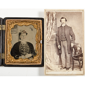 Civil War CDV of a New York Soldier, Plus Patriotic Tintype of a Young Woman