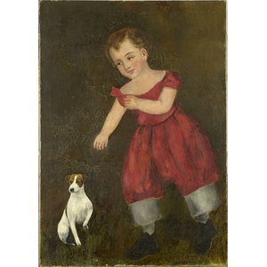Oil on Canvas of Child with Dog,