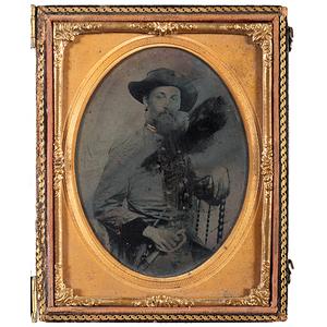 CSA 1st Lieutenant, W.B. Champlin, Louisiana 2nd Cavalry, Quarter Plate Ambrotype