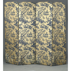 Early Scenic Printed Fabric Covered Dressing Screen,