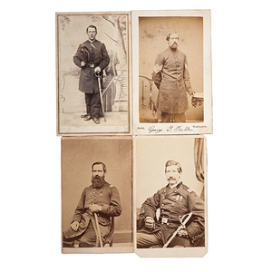 3rd Maine Officers including Col. Moses Lakeman at Gettysburg, Four CDVs