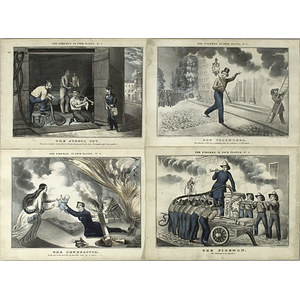 Rare Lithographs, The Fireman, in Four Plates by Strong,