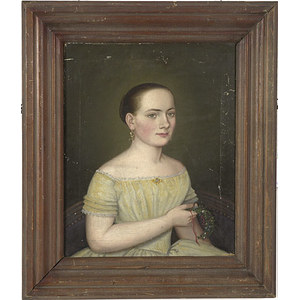 Signed Oil on Canvas Portrait of a Young Woman,