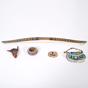 Eclectic Group of Pouches, Basket, and Carvings