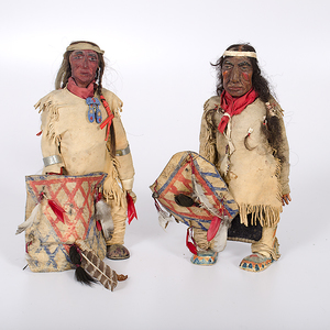 Composition Plains Warrior Dolls with Cameo Doll Bodies