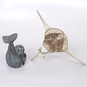 Eskimo Soapstone and Whale Vertebrae Transformation Carvings