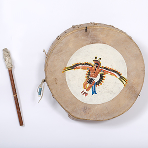 Tony White Cloud, Santa Clara, Painted Drum Collected by John S. Boyden, Sr. (1906-1980)