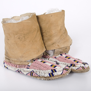 Cheyenne Girl's Beaded Hide Matched Leggings and Moccasins