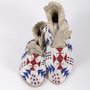 Sioux Beaded Hide Moccasins Collected by John S. Boyden, Sr. (1906-1980)