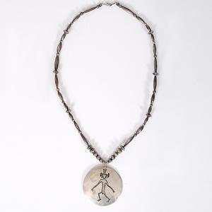 Hopi Silver Necklace with  Hermaphrodite Design