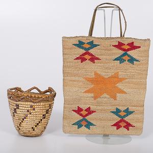 Nez Perce Cornhusk Bag and Fraser River Imbricated Basket Collected by John S. Boyden, Sr. (1906-1980)