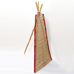 Northern Plains Backrest with Carved and Painted Poles Collected by John S. Boyden, Sr. (1906-1980)