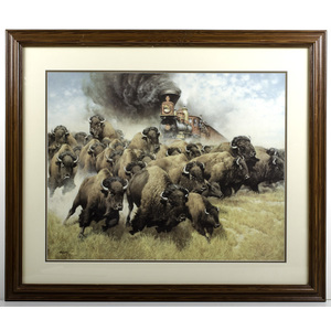 Frank McCarthy Print of Steam Engine and Buffalo