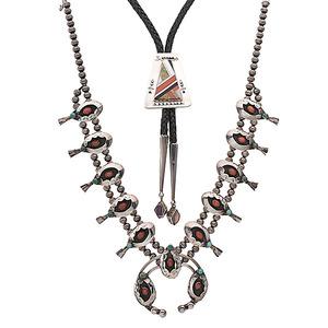 Navajo Squash Blossom Necklace and Hopi Inlaid Bolo Tie