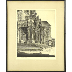Fine John Taylor Arms Etching of Chartres Cathedral,