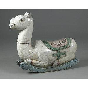 Painted Wooden Rocking Camel,