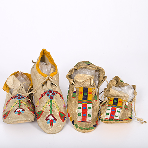 Cheyenne and Sioux Beaded Hide Moccasins From the Collection of Dr. Kent and Karen Vickery, Colorado