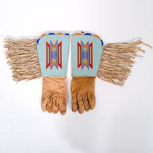 Plateau Beaded Hide Gauntlets From the Collection of Dr. Kent and Karen Vickery, Colorado