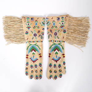 Fine Twentieth Century Northern Plains Beaded Hide Gauntlets From the Collection of Dr. Kent and Karen Vickery, Colorado