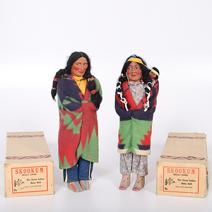 Pair of Skookum Dolls in Boxes From the Collection of Dr. Kent and Karen Vickery, Colorado