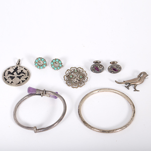 Mexican Silver Bangles, Pins, Pendants, Cuff-links, and Earrings