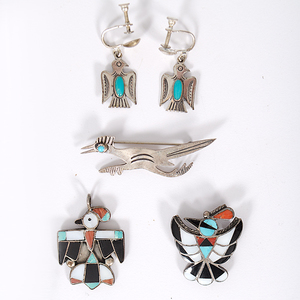Navajo and Zuni Pendants, Pins, and Earrings