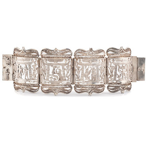 Silver Egyptian Hinged Cuff Bracelet
