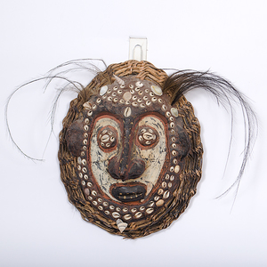 Sepik River Papua New Guinea Painted Shell and Basketry Mask From the Collection of Dr. Kent and Karen Vickery, Colorado