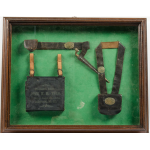 Miniature U.S. Cavalry Leather Bag, Belt & Backpack, Framed