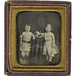 Sixth Plate Daguerreotype of Children & Their Toy Hobby Horse,