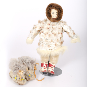 Eskimo Seal Skin Moccasins and Doll with Seal-gut Parka