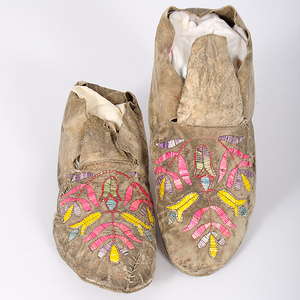 Santee Sioux Quilled Hide Moccasins