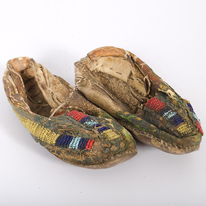 Sioux Beaded and Painted Hide Moccasins From the Estate of Iron Eyes Cody