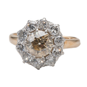 An 18 Karat Yellow and White Diamond Fashion Ring