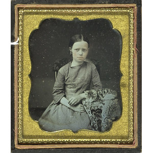 Daguerreotype of a Girl and Her Cat,