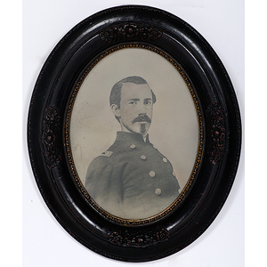 Civil War Full Plate Tintype of Officer, Housed in Original Frame