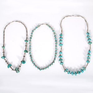 Navajo Turquoise Nugget and Silver Bead Necklaces